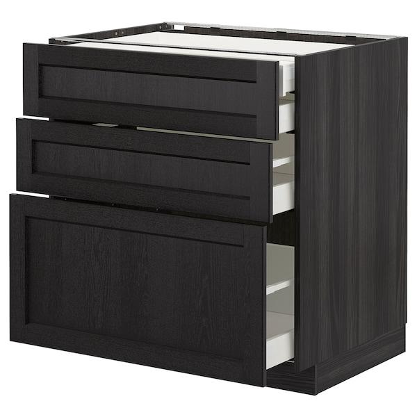 METOD Élément bas 3faces/2tir bs+1moy+1ht, noir/Lerhyttan teinté noir, 80x60 cm