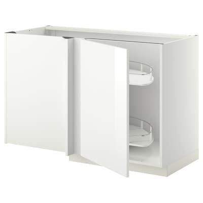 METOD Élément bas angle+aménagement couli, blanc/Ringhult blanc, 128x68 cm