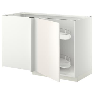 METOD Élément bas angle+aménagement couli, blanc/Veddinge blanc, 128x68 cm