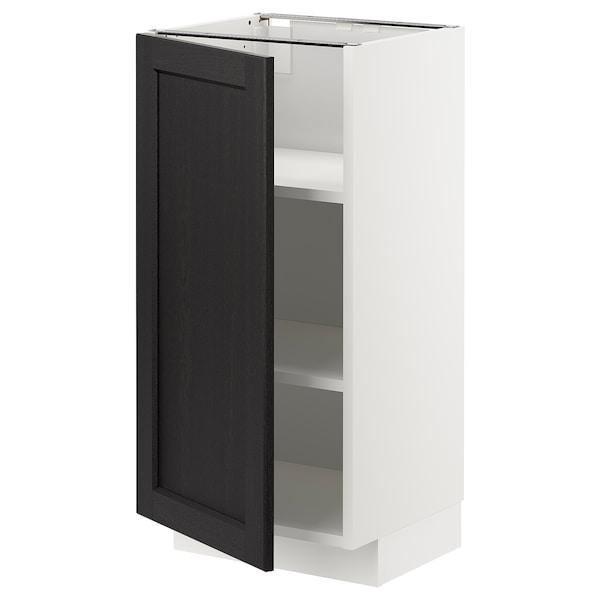 METOD Élément bas avec tablettes, blanc/Lerhyttan teinté noir, 40x37 cm