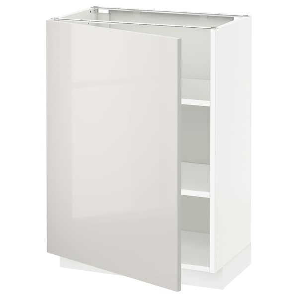 METOD Élément bas avec tablettes, blanc/Ringhult gris clair, 60x37 cm