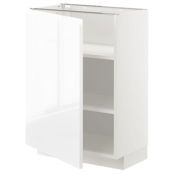 METOD Élément bas avec tablettes, blanc/Voxtorp brillant/blanc, 60x37 cm