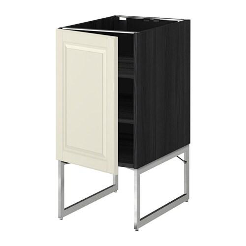 metod l ment bas avec tablettes effet bois noir bodbyn blanc cass 40x60x60 cm ikea. Black Bedroom Furniture Sets. Home Design Ideas