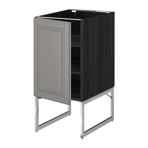 metod l ment bas avec tablettes effet bois noir bodbyn gris 40x60x60 cm ikea. Black Bedroom Furniture Sets. Home Design Ideas