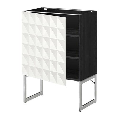 metod l ment bas avec tablettes effet bois noir herrestad blanc 60x37x60 cm ikea. Black Bedroom Furniture Sets. Home Design Ideas