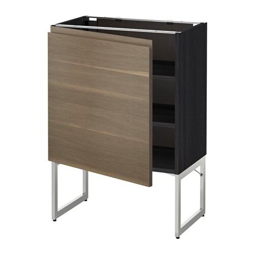 metod l ment bas avec tablettes effet bois noir voxtorp motif noyer 60x37x60 cm ikea. Black Bedroom Furniture Sets. Home Design Ideas