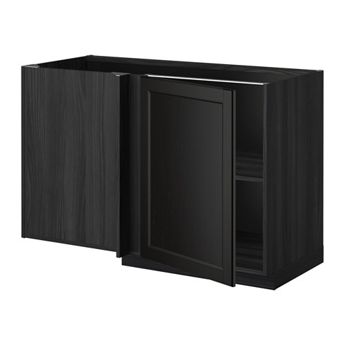 metod l ment bas d 39 angle tablette effet bois noir laxarby brun noir ikea. Black Bedroom Furniture Sets. Home Design Ideas