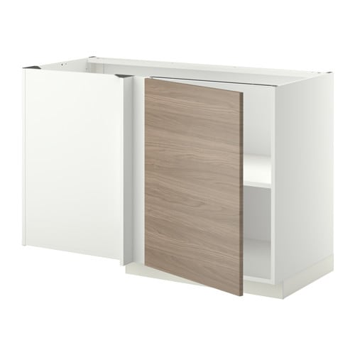 Metod l ment bas d 39 angle tablette blanc brokhult motif noyer gris clair ikea for Meuble metod ikea