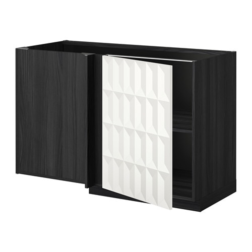 metod l ment bas d 39 angle tablette effet bois noir herrestad blanc ikea. Black Bedroom Furniture Sets. Home Design Ideas