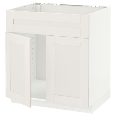 METOD Élément bas évier 2portes/face, blanc/Sävedal blanc, 80x60 cm