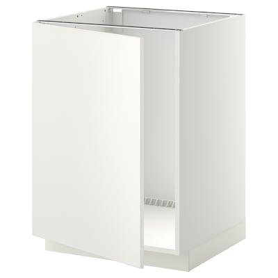 METOD Élément bas évier, blanc/Veddinge blanc, 60x60 cm