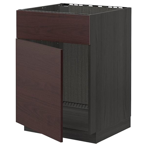 METOD Élément bas évier porte/face, noir Askersund/brun foncé décor frêne, 60x60 cm