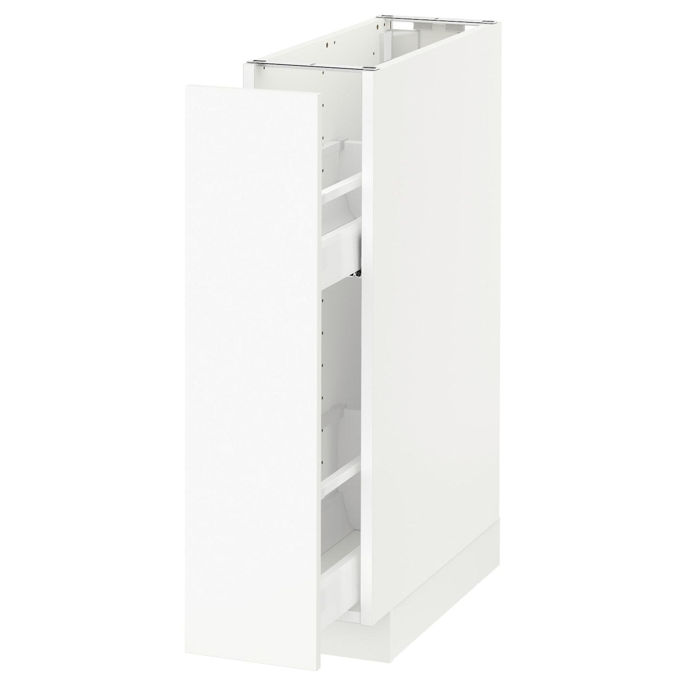 METOD Élément bas+rgts coulissants - blanc/Häggeby blanc 15x15 cm