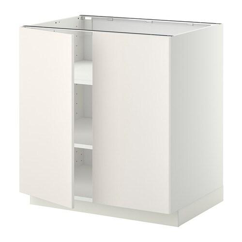 metod l ment bas tablette 2portes blanc veddinge blanc 80x60 cm ikea. Black Bedroom Furniture Sets. Home Design Ideas
