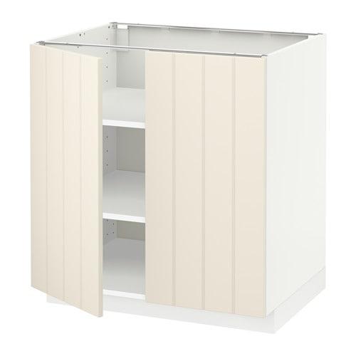 metod l ment bas tablette 2portes blanc hittarp blanc cass 80x60 cm ikea. Black Bedroom Furniture Sets. Home Design Ideas