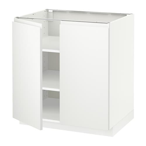 metod l ment bas tablette 2portes blanc voxtorp blanc 80x60 cm ikea. Black Bedroom Furniture Sets. Home Design Ideas