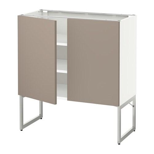 metod l ment bas tablette 2portes blanc ubbalt beige fonc 80x37x60 cm ikea. Black Bedroom Furniture Sets. Home Design Ideas