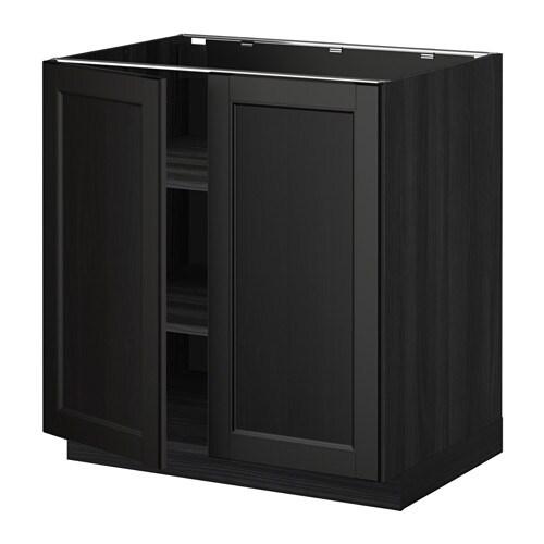 metod l ment bas tablette 2portes effet bois noir. Black Bedroom Furniture Sets. Home Design Ideas