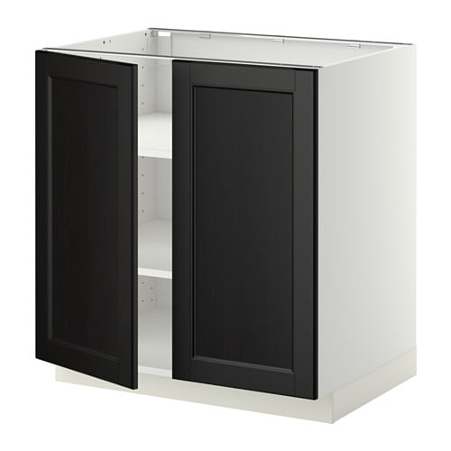 metod l ment bas tablette 2portes blanc laxarby brun noir 80x60 cm ikea. Black Bedroom Furniture Sets. Home Design Ideas