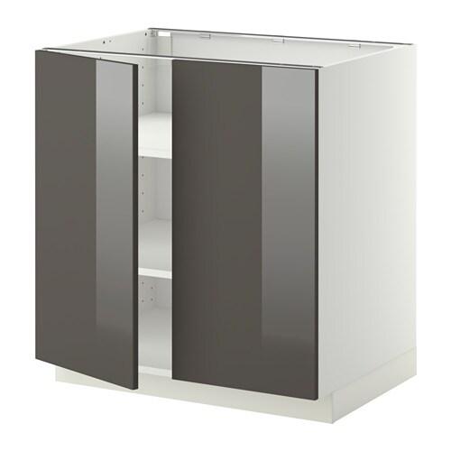 metod l ment bas tablette 2portes blanc ringhult brillant gris 80x60 cm ikea. Black Bedroom Furniture Sets. Home Design Ideas