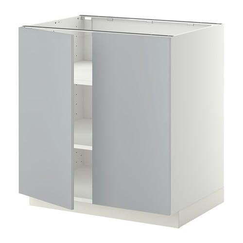 Metod L Ment Bas Tablette 2portes Blanc Veddinge Gris 80x60 Cm Ikea