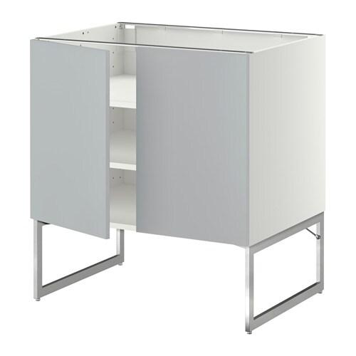 metod l ment bas tablette 2portes blanc veddinge gris. Black Bedroom Furniture Sets. Home Design Ideas