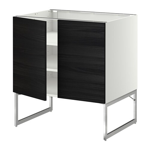 metod l ment bas tablette 2portes blanc tingsryd effet bois noir 80x60x60 cm ikea. Black Bedroom Furniture Sets. Home Design Ideas