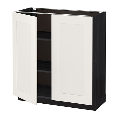 metod l ment bas tablette 2portes effet bois noir s vedal blanc 80x37 cm ikea. Black Bedroom Furniture Sets. Home Design Ideas