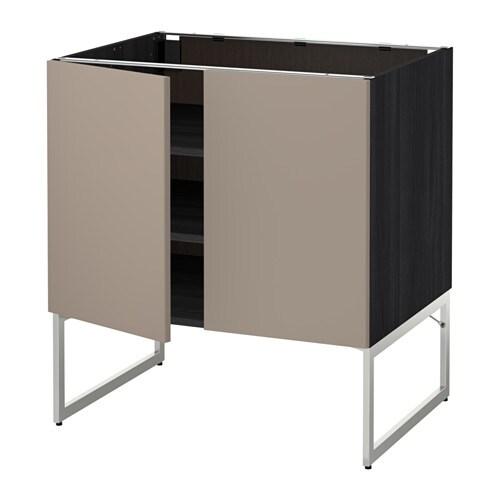 metod l ment bas tablette 2portes effet bois noir ubbalt beige fonc 80x60x60 cm ikea. Black Bedroom Furniture Sets. Home Design Ideas