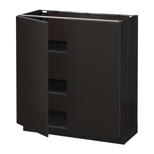 metod l ment bas tablette 2portes effet bois noir kungsbacka anthracite 80x37 cm ikea. Black Bedroom Furniture Sets. Home Design Ideas