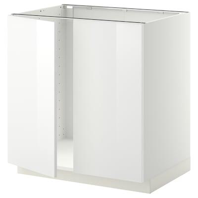 METOD Élément évier 2 portes, blanc/Ringhult blanc, 80x60 cm
