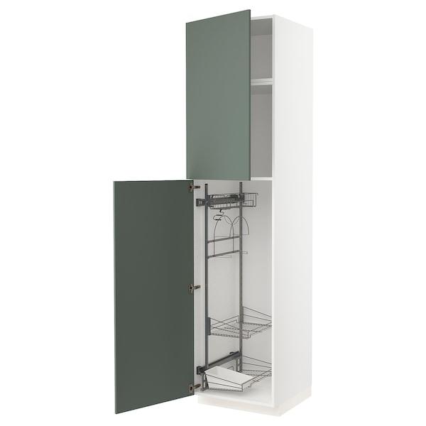METOD Élément haut + rangements prod entr, blanc/Bodarp gris vert, 60x60x240 cm