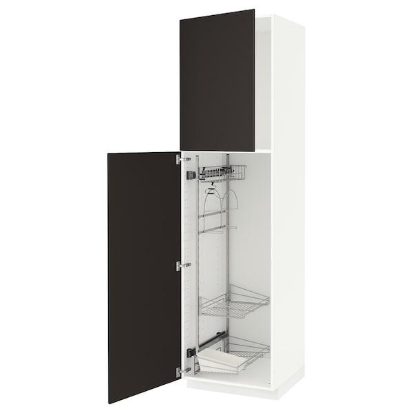 METOD Élément haut + rangements prod entr, blanc/Kungsbacka anthracite, 60x60x220 cm
