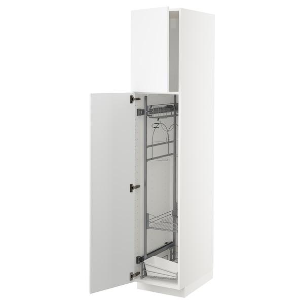 METOD Élément haut + rangements prod entr, blanc/Kungsbacka blanc mat, 40x60x200 cm