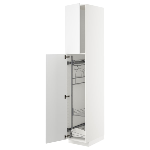 METOD Élément haut + rangements prod entr, blanc/Kungsbacka blanc mat, 40x60x220 cm