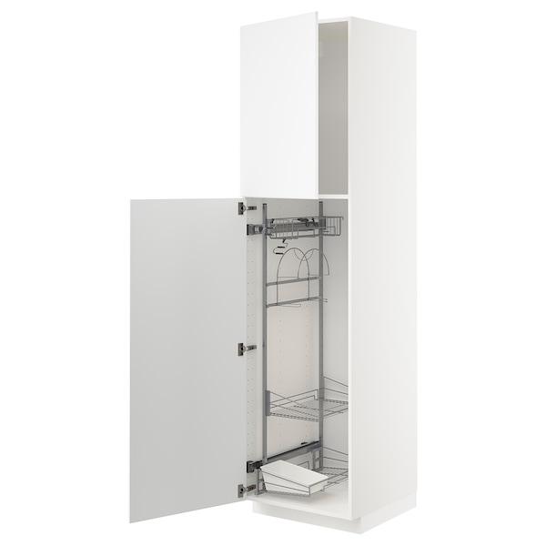 METOD Élément haut + rangements prod entr, blanc/Kungsbacka blanc mat, 60x60x220 cm