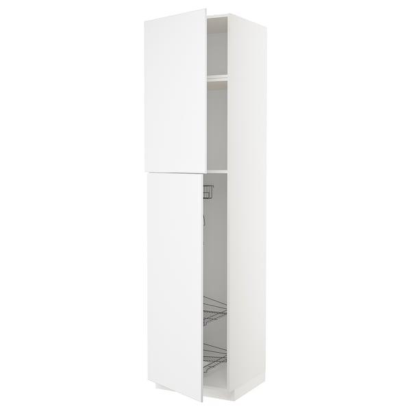 METOD Élément haut + rangements prod entr, blanc/Kungsbacka blanc mat, 60x60x240 cm