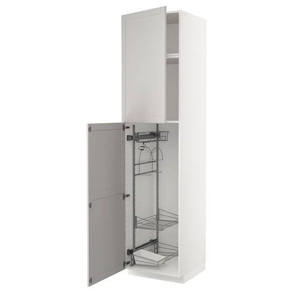 METOD Élément haut + rangements prod entr, blanc/Lerhyttan gris clair, 60x60x240 cm