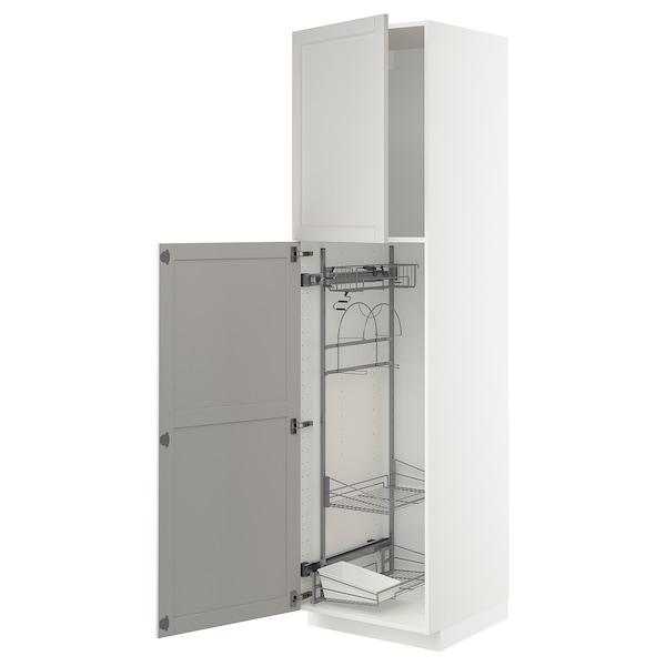 METOD Élément haut + rangements prod entr, blanc/Lerhyttan gris clair, 60x60x220 cm