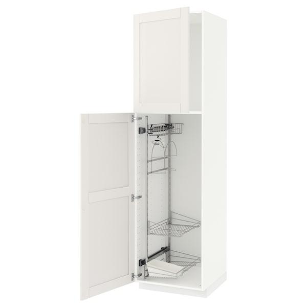 METOD Élément haut + rangements prod entr, blanc/Sävedal blanc, 60x60x220 cm