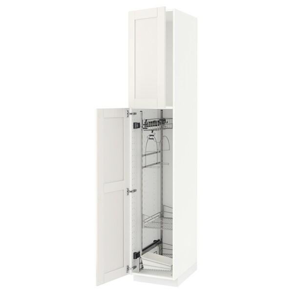 METOD Élément haut + rangements prod entr, blanc/Sävedal blanc, 40x60x220 cm
