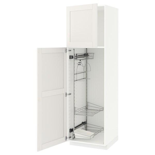 METOD Élément haut + rangements prod entr, blanc/Sävedal blanc, 60x60x200 cm