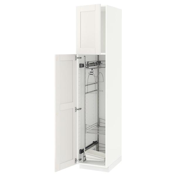 METOD Élément haut + rangements prod entr, blanc/Sävedal blanc, 40x60x200 cm