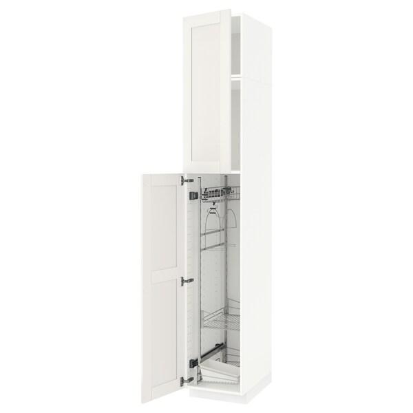 METOD Élément haut + rangements prod entr, blanc/Sävedal blanc, 40x60x240 cm