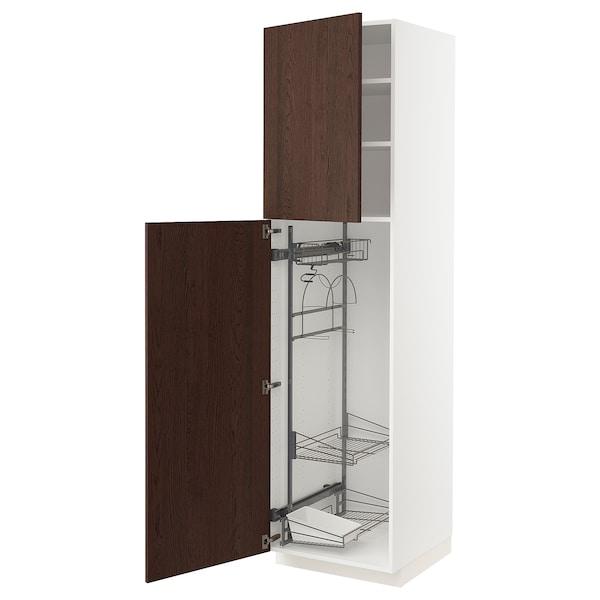 METOD Élément haut + rangements prod entr, blanc/Sinarp brun, 60x60x220 cm