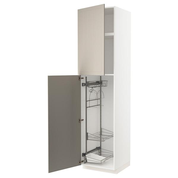 METOD Élément haut + rangements prod entr, blanc/Stensund beige, 60x60x240 cm
