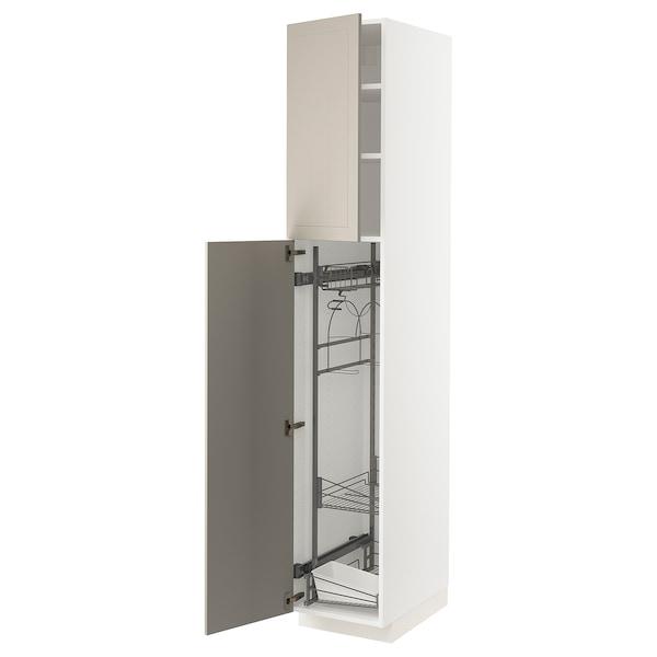 METOD Élément haut + rangements prod entr, blanc/Stensund beige, 40x60x220 cm