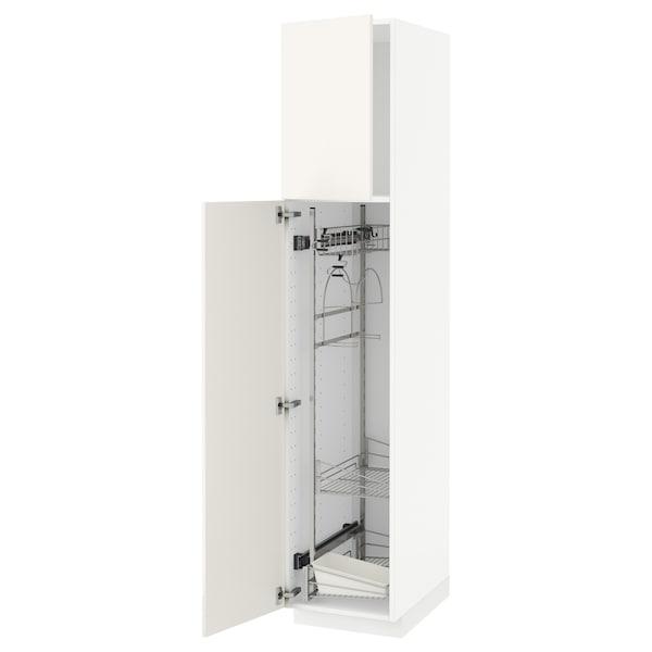 METOD Élément haut + rangements prod entr, blanc/Veddinge blanc, 40x60x200 cm