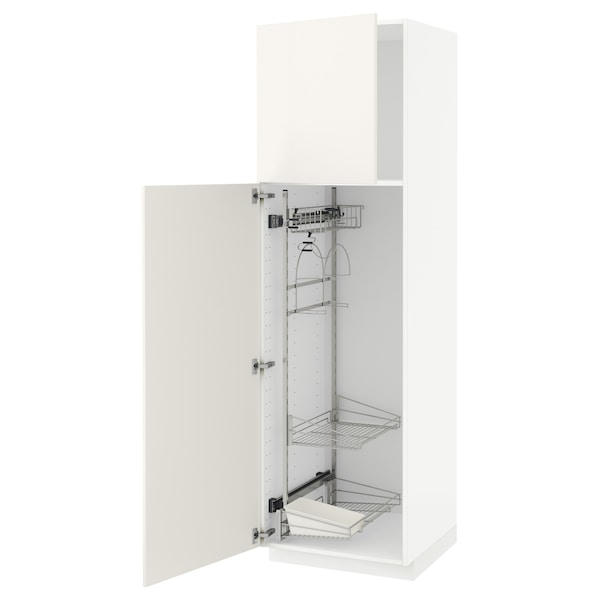 METOD Élément haut + rangements prod entr, blanc/Veddinge blanc, 60x60x200 cm