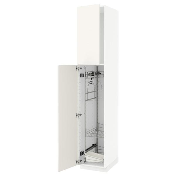 METOD Élément haut + rangements prod entr, blanc/Veddinge blanc, 40x60x220 cm